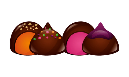 chocolate sweet bonbons candy stuffed vector illustration