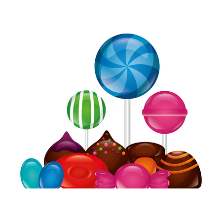 sweet candies lollipops chocolate chips caramel vector illustration