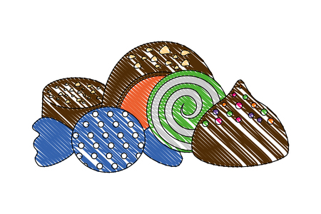 sweet candies chocolate bon bons caramels vector illustration Imagens - 110419610