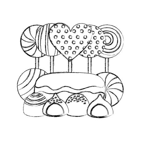 sweet lollipops macarons caramel bonbons chocolate vector illustration