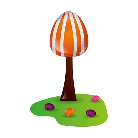 tree land sweet candies confetionery vector illustration Çizim