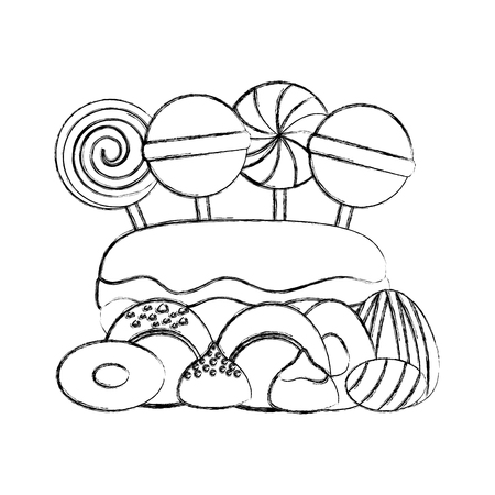 sweet lollipops macarons caramels stuffed chocolate bonbon vector illustration  hand drawing