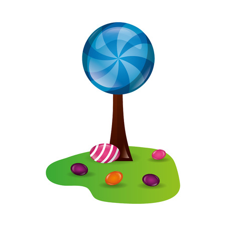 tree land sweet candies confetionery vector illustration 向量圖像