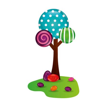 tree land sweet candies confetionery vector illustration Ilustrace