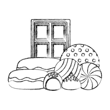 chocolate bar macarons bonbons round candies vector illustration  hand drawing 版權商用圖片 - 107524400