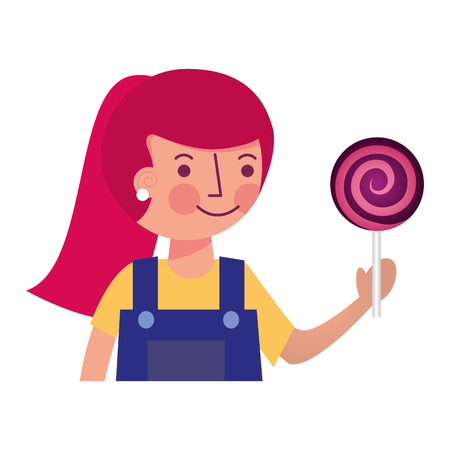 cute girl holding sweet lollipop snack vector illustration