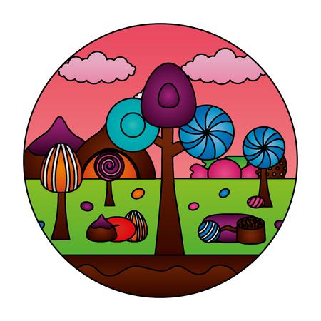 fantasy sweet candies chocolate landscape vector illustration Ilustração