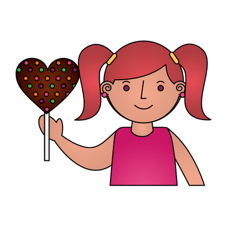 cute girl holding sweet lollipop snack vector illustration