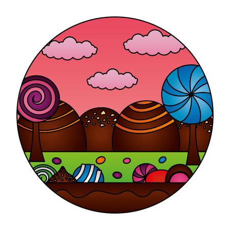 fantasy sweet candies chocolate landscape vector illustration Illustration