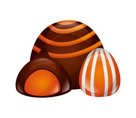 chocolate stuffed bonbon sweet caramel vector illustration