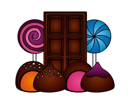 chocolate bar lollipops and stuffed bonbons vector illustration