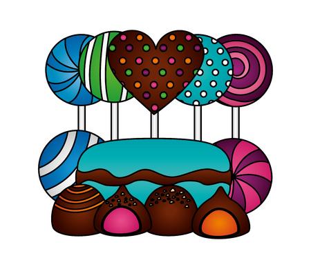 sweet lollipops macarons caramel bonbons chocolate vector illustration 版權商用圖片 - 107526184