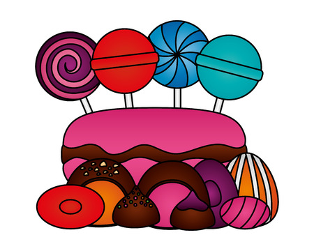sweet lollipops macarons caramels stuffed chocolate bonbon vector illustration