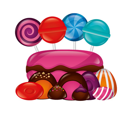 sweet lollipops macarons caramels stuffed chocolate bonbon vector illustration 写真素材 - 107526188