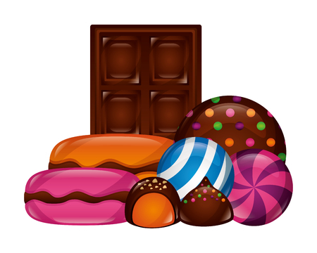 chocolate bar macarons bonbons round candies vector illustration