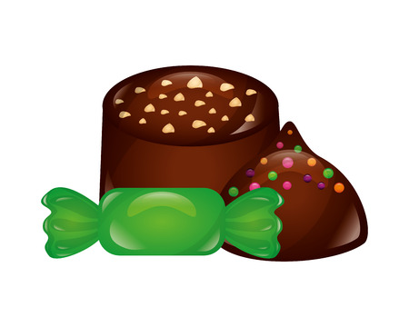 chocolate bonbon chip and sweet candy vector illustration Illustration