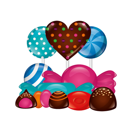 sweet candies chocolate heart lollipops wrapper chip caramels vector illustration