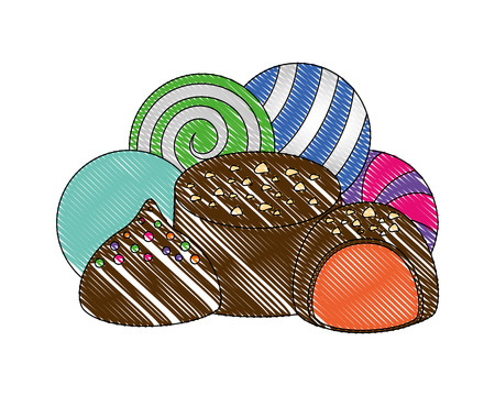 sweet candies chocolate bon bons caramels vector illustration Illustration
