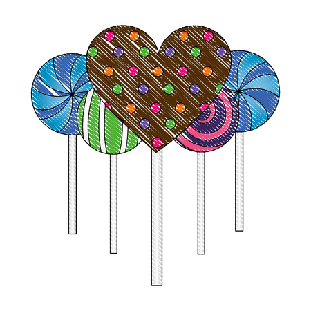 sweet candy lollipops heart spiral round confetionery vector illustration