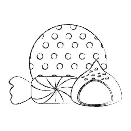 chocolate sweet bonbon candy and stuffed chip vector illustration Foto de archivo - 107524406