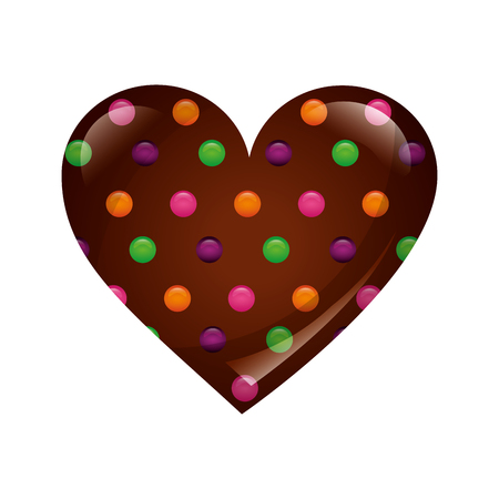 sweet heart chocolate chips candy vector illustration