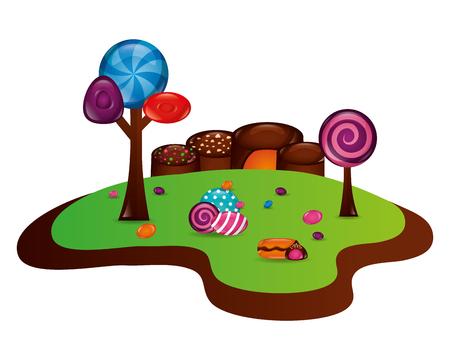 fantasy sweet candies chocolate landscape vector illustration  イラスト・ベクター素材