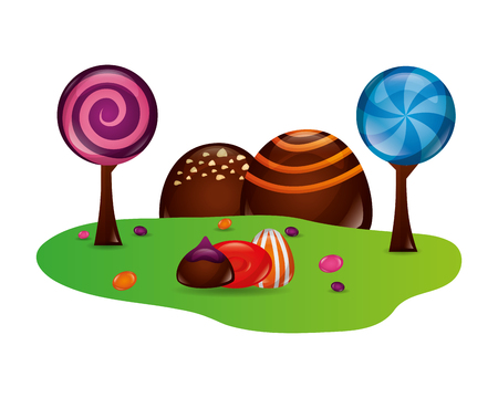 fantasy sweet candies chocolate landscape vector illustration 向量圖像