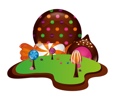 fantasy sweet candies chocolate landscape vector illustration Фото со стока - 107527631