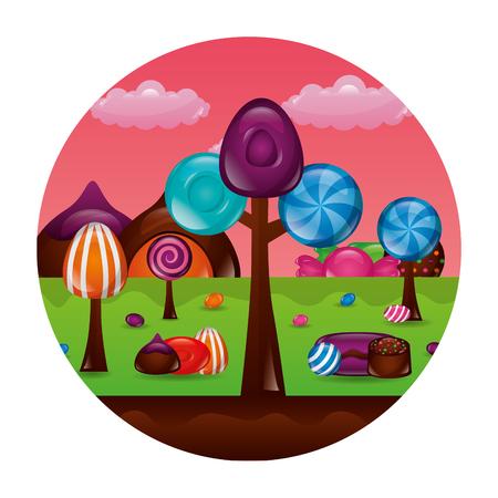 Fantasía dulces caramelos chocolate paisaje ilustración vectorial
