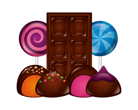 chocolate bar lollipops and stuffed bonbons vector illustration