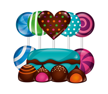 sweet lollipops macarons caramel bonbons chocolate vector illustration