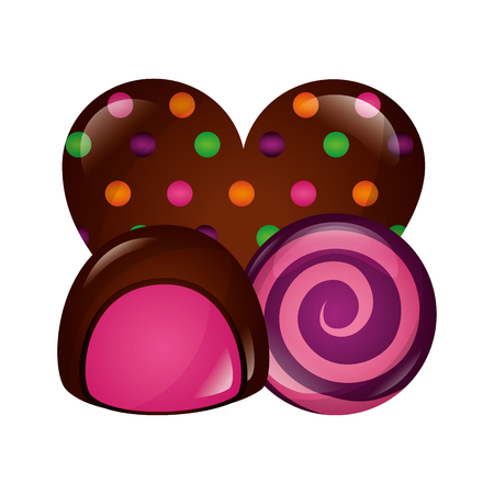 chocolate candy heart stuffing chip round caramel vector illustration  イラスト・ベクター素材