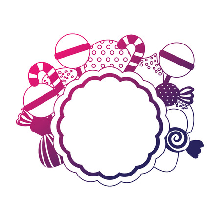 frame with sweet candies isolated icon vector illustration design