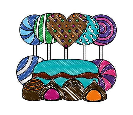 sweet candies isolated icon vector illustration design  イラスト・ベクター素材