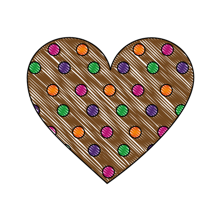cookie of chocolate in shape heart isolated icon vector illustration design Illustration