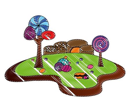 forest landscape sweet candies scene vector illustration design