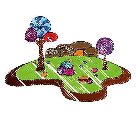 forest landscape sweet candies scene vector illustration design