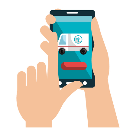 hands with smartphone and ambulance telemedicine vector illustration