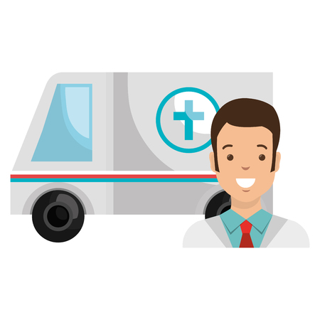 doctor man with ambulance character vector illustration design Иллюстрация