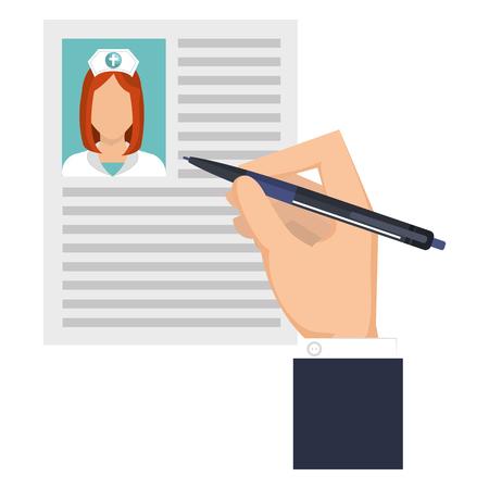 hand writing in nurse curriculum vitae vector illustration design