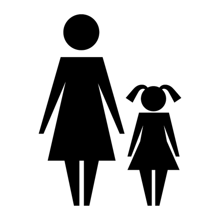 mother with daughter silhouette isolated icon vector illustration design
