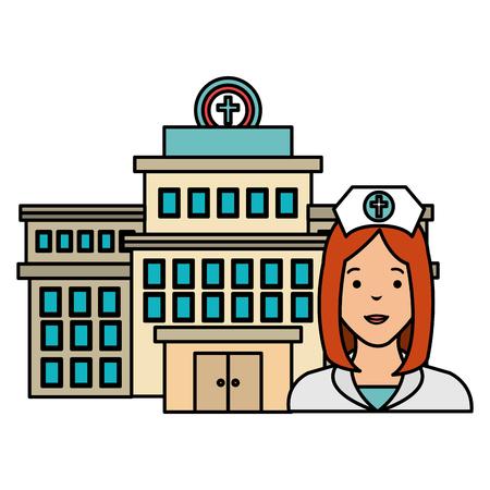 nurse with hospital building vector illustration design
