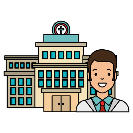 doctor man with hospital building vector illustration design Иллюстрация