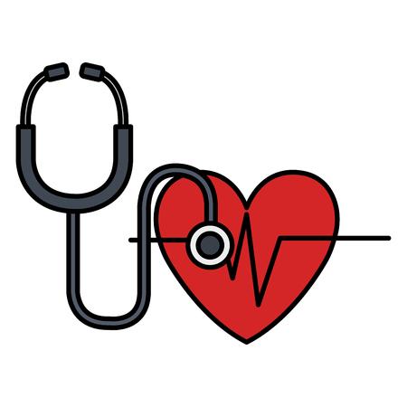 heart cardio with stethoscope vector illustration design Vektorgrafik