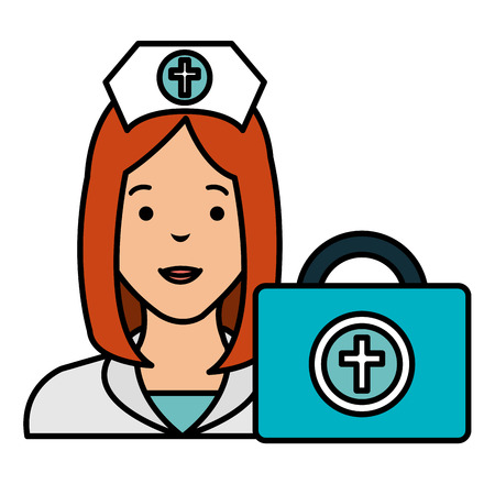 nurse with medical kit character vector illustration design