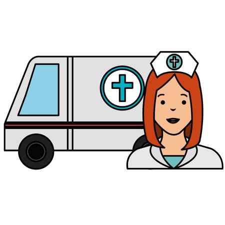 nurse with ambulance icon vector illustration design