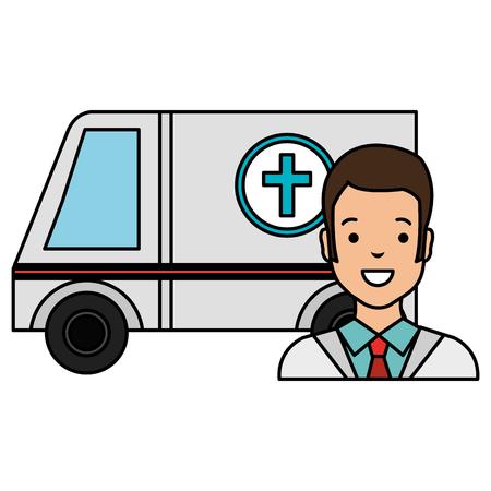 doctor man with ambulance character vector illustration design Ilustração