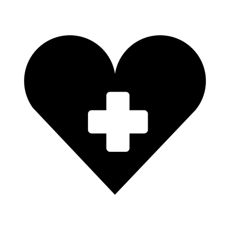 medical heart with cross symbol silhouette isolated icon vector illustration design