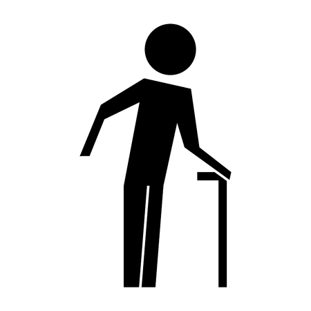 old man with cane silhouette vector illustration design