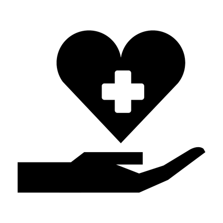 hand with medical heart and cross symbol silhouette illustration design 일러스트
